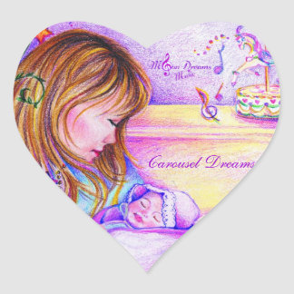 Carousel Dreams Heart Shaped Stickers