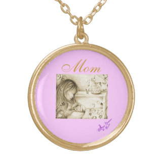 Carousel Dreams Mom Round Necklace Gold Finish