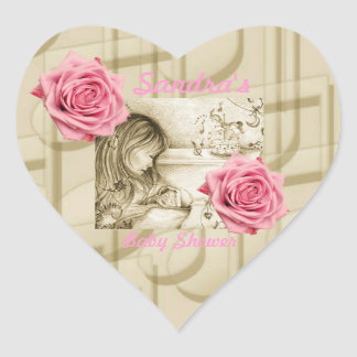 Carousel Dreams Pink Roses & Music Heart Stickers