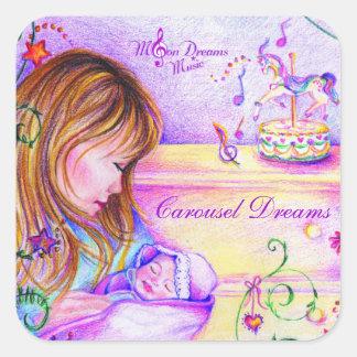 Carousel Dreams Square Stickers