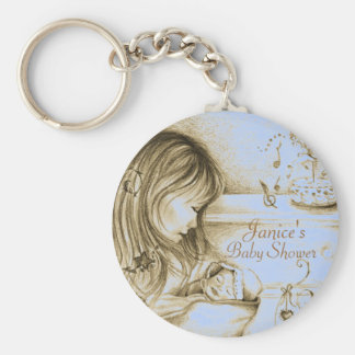 Carousel Dreams Vintage Blue Button Keychain