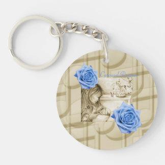 Carousel Dreams Vintage Blue Rose Circle Keychain