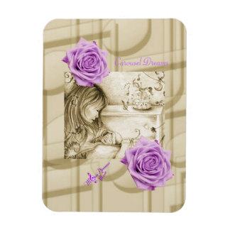 Carousel Dreams Vintage Purple Rose Photo Magnet Vinyl Magnets