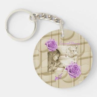 Carousel Dreams Vintage Rose Circle Keychain