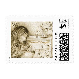 Carousel Dreams Vintage Style Postage Stamp