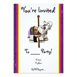 Carousel Elephant 5x7 Paper Invitation Card