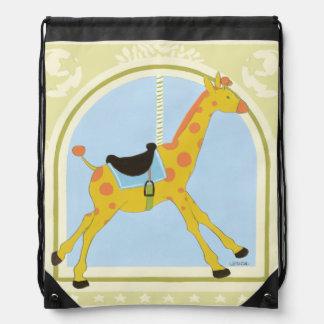 Carousel Giraffe by June Erica Vess Drawstring Backpack
