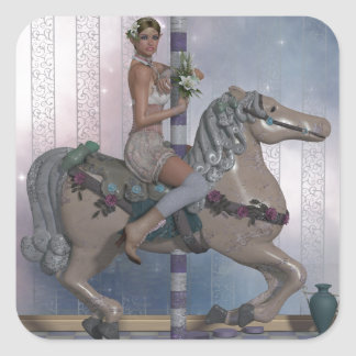 Carousel horse and Elf Square Sticker