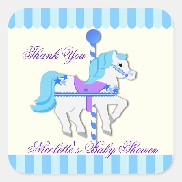 Carousel Horse Baby Blue Starsthank You Square Sticker Zazzle Com