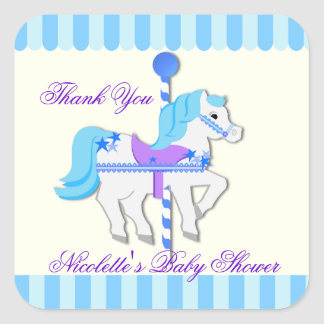 Carousel Horse Baby Blue StarsThank You Square Sticker