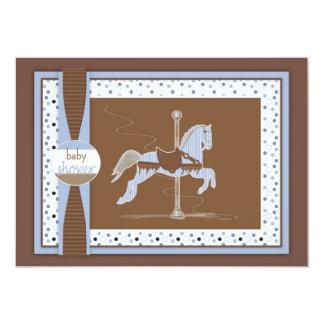 Carousel Horse Baby Boy Shower Inviation Card