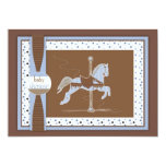 "Carousel Horse Baby Boy Shower Inviation 5"" X 7"" Invitation Card"