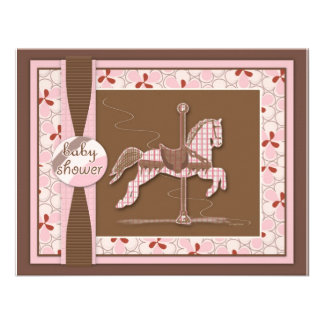 Carousel Horse Baby Girl Shower Invitation