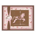 "Carousel Horse Baby Girl Shower Invitation 4.25"" X 5.5"" Invitation Card"