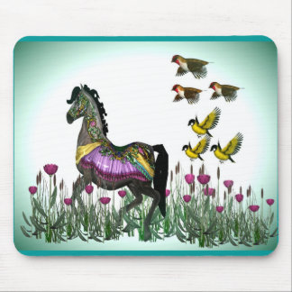 Carousel horse & Birds 1 Mouse Pad