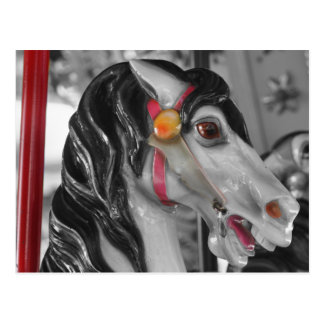 Carousel Horse Black White Postcard