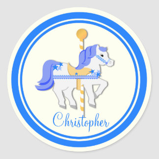 Carousel Horse Blue Gold Stars Stickers