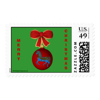 Carousel Horse Bow Christmas Postage Stamp