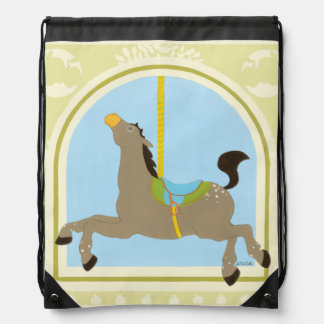 Carousel Horse by June Erica Vess Drawstring Backpack