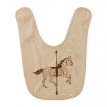 Carousel Horse - Chocolate Brown and Tan Bib