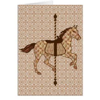 Carousel Horse - Chocolate Brown and Tan Card