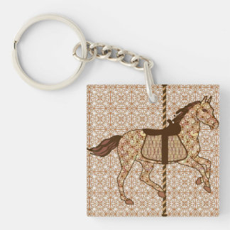 Carousel Horse - Chocolate Brown and Tan Keychain