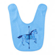 Carousel Horse - Cobalt and Sky Blue Bib