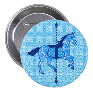 Carousel Horse - Cobalt and Sky Blue Pin