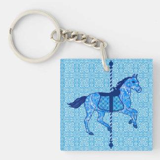 Carousel Horse - Cobalt and Sky Blue Keychain