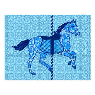 Carousel Horse - Cobalt and Sky Blue Postcard
