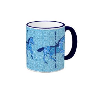 Carousel Horse - Cobalt and Sky Blue Ringer Mug