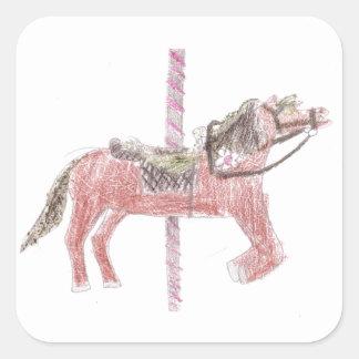 Carousel Horse Design Square Sticker