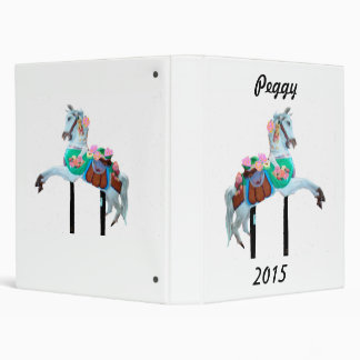 """CAROUSEL HORSE EZ TURN CUSTOMIZED AVERY BINDER"" 3 RING BINDER"