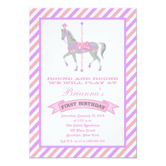 "Carousel Horse First Birthday Invitation 5"" X 7"" Invitation Card"