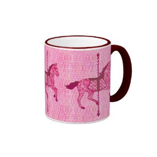 Carousel Horse - Fuchsia Pink Ringer Mug