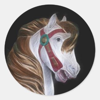 Carousel horse head classic round sticker