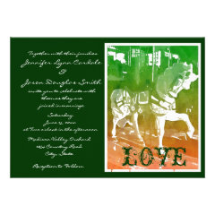 Carousel Horse Hunter Green Wedding Invitations