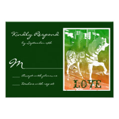 Carousel Horse Hunter Green Wedding RSVP Cards