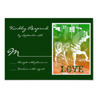 Carousel Horse Hunter Green Wedding RSVP Cards
