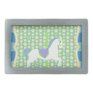 Carousel Horse in Blue, Green, Yellow, and White, Rectangular Belt Buckle