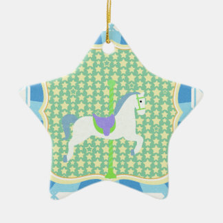 Carousel Horse in Blue, Green, Yellow, and White, Ceramic Ornament
