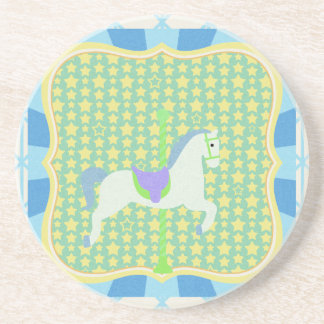 Carousel Horse in Blue, Green, Yellow, and White, Coaster