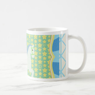 Carousel Horse in Blue, Green, Yellow, and White, Coffee Mug