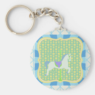 Carousel Horse in Blue, Green, Yellow, and White, Keychains