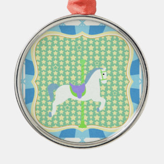 Carousel Horse in Blue, Green, Yellow, and White, Metal Ornament