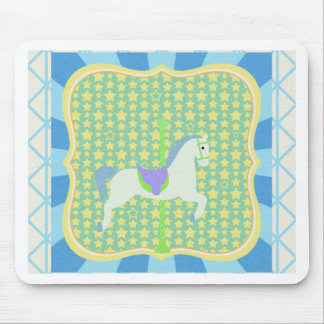 Carousel Horse in Blue, Green, Yellow, and White, Mousepads