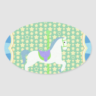 Carousel Horse in Blue, Green, Yellow, and White, Oval Sticker