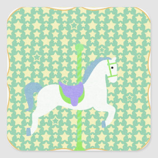 Carousel Horse in Blue, Green, Yellow, and White, Square Sticker