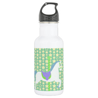 Carousel Horse in Blue, Green, Yellow, and White, Water Bottle