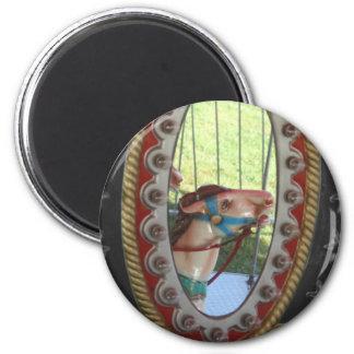 Carousel Horse In Mirror Black White 2 Inch Round Magnet